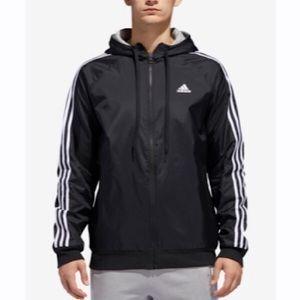 Men's Adidas Black Hoodie Zip Up Jacket Small!